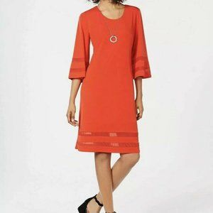 JM COLLECTION Mesh Inset Neck Dress Medium Red